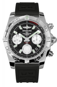 chronomat 41 steel case black face white dials hour markers
