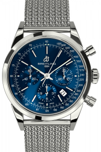 transocean chronograph blue face front view